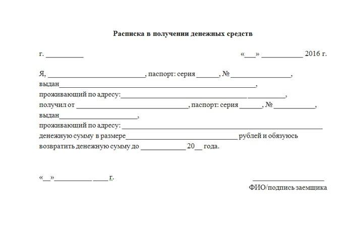 расписка в получении долга образец